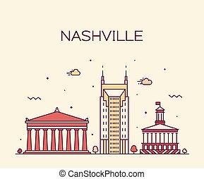都市, 線である, アメリカ, テネシー州, ナッシュビル, スカイライン, ベクトル
