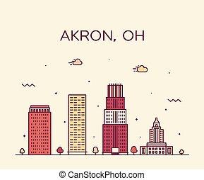 都市, 線である, アメリカ, akron, スカイライン, ベクトル, 最新流行である, オハイオ州