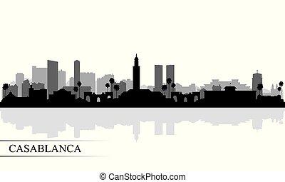 都市, 背景, カサブランカ, スカイラインのシルエット