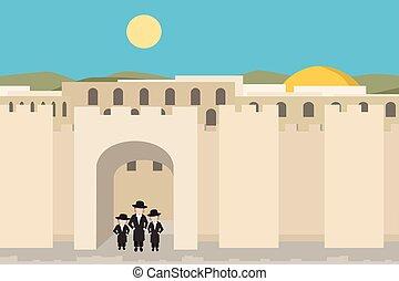 都市, 背景, 漫画, 古い, jerusalim
