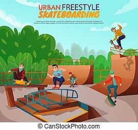 都市, 背景, skateboarding