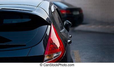 都市, 自動車, 背中, 通り, 背景, ライト
