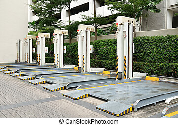 都市, 自動車, 資本, リフト, スペース, 駐車, を除けば