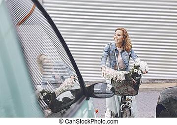 都市, 自転車, 乗馬