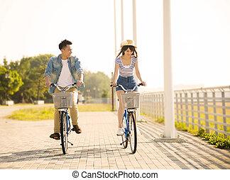都市, 自転車, 恋人, 公園, 若い, 乗馬, 幸せ