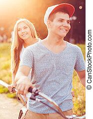都市, 自転車, 恋人, 通り, 乗馬, 幸せ