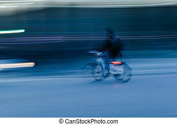 都市, 自転車, 現場, ぼんやりさせられた, 乗馬, 人