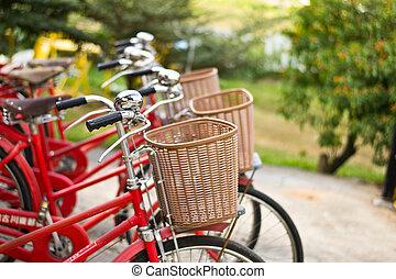 都市, 自転車, 駐車される, 赤