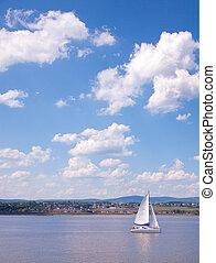 都市, 航海, ケベック, st-lawrence, 川の ボート