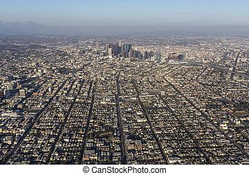 都市, 航空写真, アンジェルという名前の人たち, los, カリフォルニア, 光景