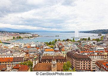 都市, 航空写真, ジェット機, leman, ジュネーブ, 湖水, パノラマである, スイス, ヨーロッパ, 光景