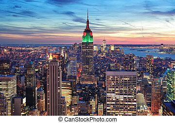 都市, 航空写真, スカイライン, ヨーク, 新しい, マンハッタン, 光景