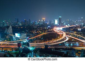 都市, 航空写真, バンコク, ダウンタウンに, 背景,  interchanged, 夜, ハイウェー, 光景