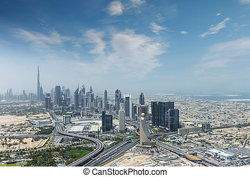 都市, 航空写真, 超高層ビル, 現代, uae., 光景, ドバイ