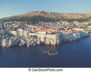 都市, 航空写真, dubrovnik, 古い, (croatia)., 光景