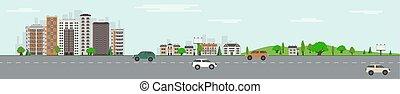 都市, 芝生, 超高層ビル, 公園, 木, スカイライン, 緑, vehicles., 公衆, 道