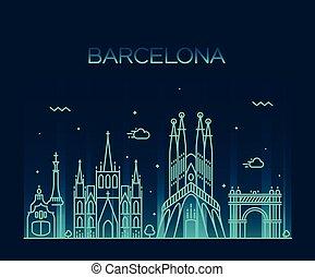 都市, 芸術, バルセロナ, スカイライン, ベクトル, 最新流行である, 線