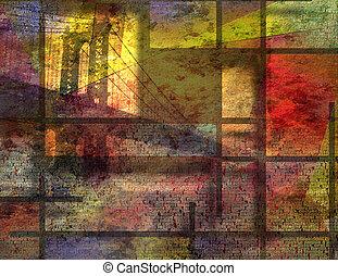都市, 芸術, 促される, 現代, ヨーク, 新しい, 風景