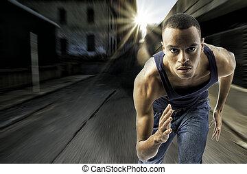 都市, 若い, 動くこと, 設定, 黒い 男性