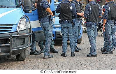都市, 装甲, 暴動, 警官, ジャケット, 防弾, の間, イタリア語