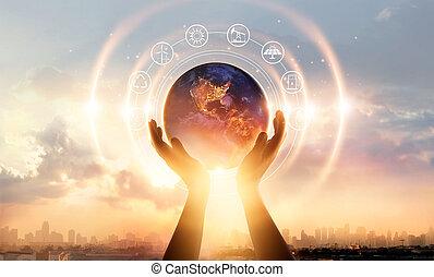 都市, 要素, セービング, 供給される, 概念, エネルギー, 夜, これ, 抽象的, day., バックグラウンド。, 感動的である, やし, 手, 地球, 日没, イメージ, nasa