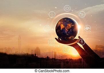 都市, 要素, セービング, 保有物, エネルギー, 供給される, これ, イメージ, 夜, day., バックグラウンド。, nasa, 人間の術中, 地球, あった, concept., 資源, アイコン