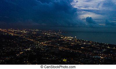 都市, 角度, 高く, thailand., pattaya, 光景