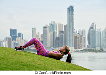 都市, 訓練, 女, 仕事, 公園, abs, から
