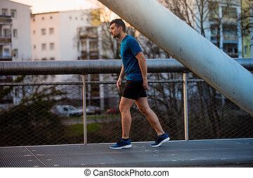 都市, 訓練, 橋, ランナー, 上に, 公園, 走っている男性