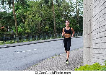 都市, 訓練, 運動選手, district., 静寂, ジョッギング, 歩道, 女性, フィットネス,...