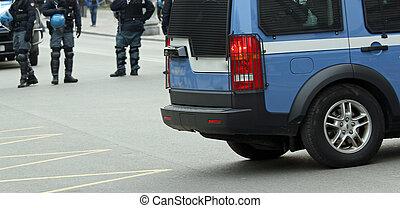 都市, 警察, 警官, ジープ, 道路封鎖ブロック, 中央, 道