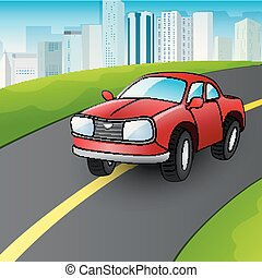都市, 赤, 漫画, ハイウェー, 自動車