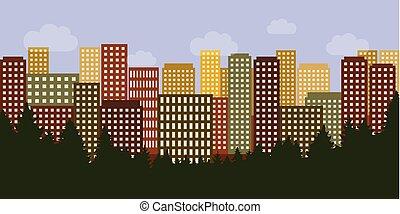 都市, 超高層ビル, カラフルである, 大きい, 家, の後ろ, 森林