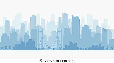 都市, 超高層ビル, パノラマ, skyline.