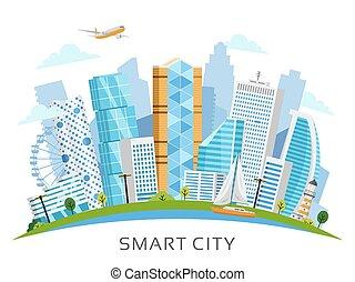 都市, 超高層ビル, ベクトル, 痛みなさい, アーチ, 風景