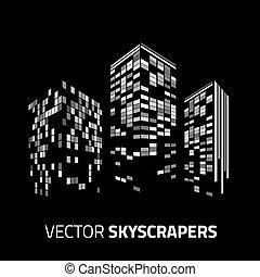 都市, 超高層ビル, lights., -, バックグラウンド。, 背景, 都市の景観