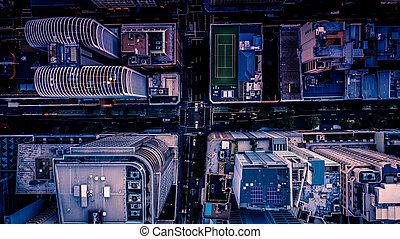 都市 通り, ∥において∥, 夕闇, ∥ように∥, 見られた, から, above., 空気の 写真