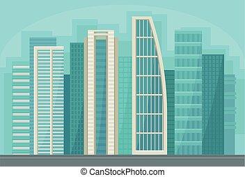 都市, 通り, パノラマ, 建物, 現代, イラスト, ベクトル, 超高層ビル, 都市の景観, 都市, 風景
