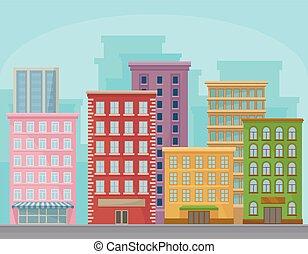 都市, 通り, パノラマ, 建物, 現代, イラスト, ベクトル, 都市の景観, 都市, 風景