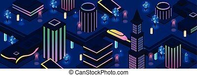 都市 通り, ベクトル, 背景, 夜, 未来