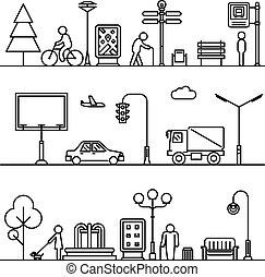 都市, 通り, illustration., パターン, ベクトル, 薄くなりなさい, 都市の景観, 線, ∥あるいは∥, 風景