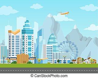 都市, 郊外, 風景, 都市