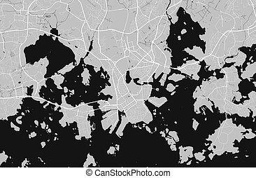都市, 都市, ベクトル, 通り, helsinki., grayscale, map., 地図, poster.