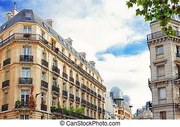 都市, 都市, 光景, の, paris.france.