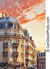都市, 都市, 光景, 上に, 建物, 中に, paris.france.