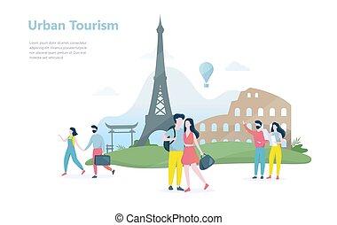 都市, 都市, 旅行, 考え, 様々, 観光事業, concept.
