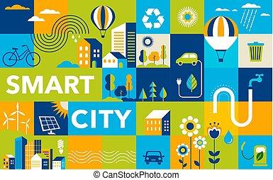 都市, 都市, 都市, 概念, 現代, 緑, 痛みなさい, 幾何学的, 風景, design.