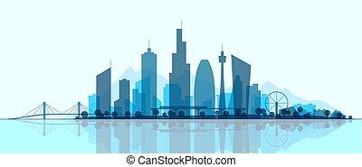 都市, 都市, panorama., 都市の景観, シルエット, illustration., スカイライン, park., 現代, 抽象的, 景色。, ダウンタウンに, オフィス, 超高層ビル, 建物, 未来派, 町