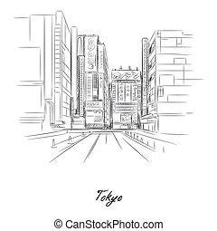 都市, 鉛筆, 東京, ペーパー, スケッチ, 通り