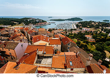 都市, 鐘, st. 。, vrsar, croatia, 教会, タワー, anthony's, 光景